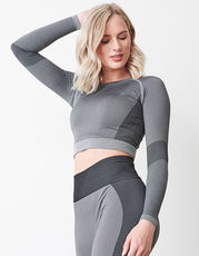 Ladies Seamless Panelled Long Sleeve Crop Top