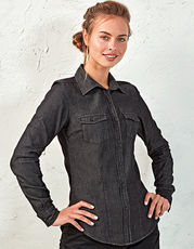 Ladies` Jeans Stitch Denim Shirt