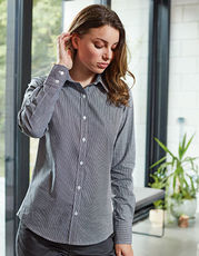 Ladies` Microcheck (Gingham) Long Sleeve Shirt