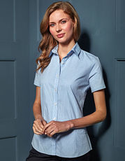 Ladies` Microcheck (Gingham) Short Sleeve Shirt Cotton